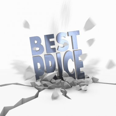 3d graphic of a lowest price best price symbol fallen from sky