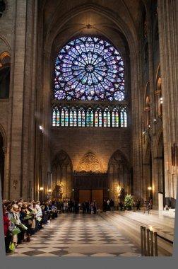 Central vitrage of Notre Dame Cathedral, Paris, France
