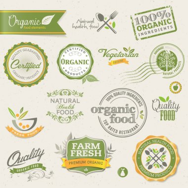 Set of vector labels and elements for organic food clip art vector