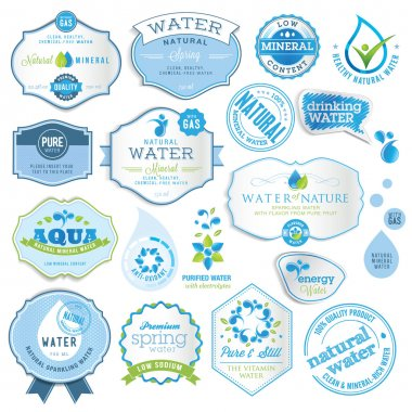 Set of water labels