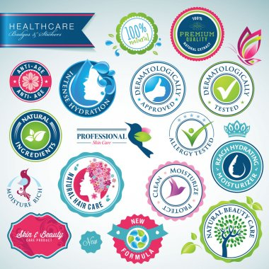 Set of health care badges and stickers