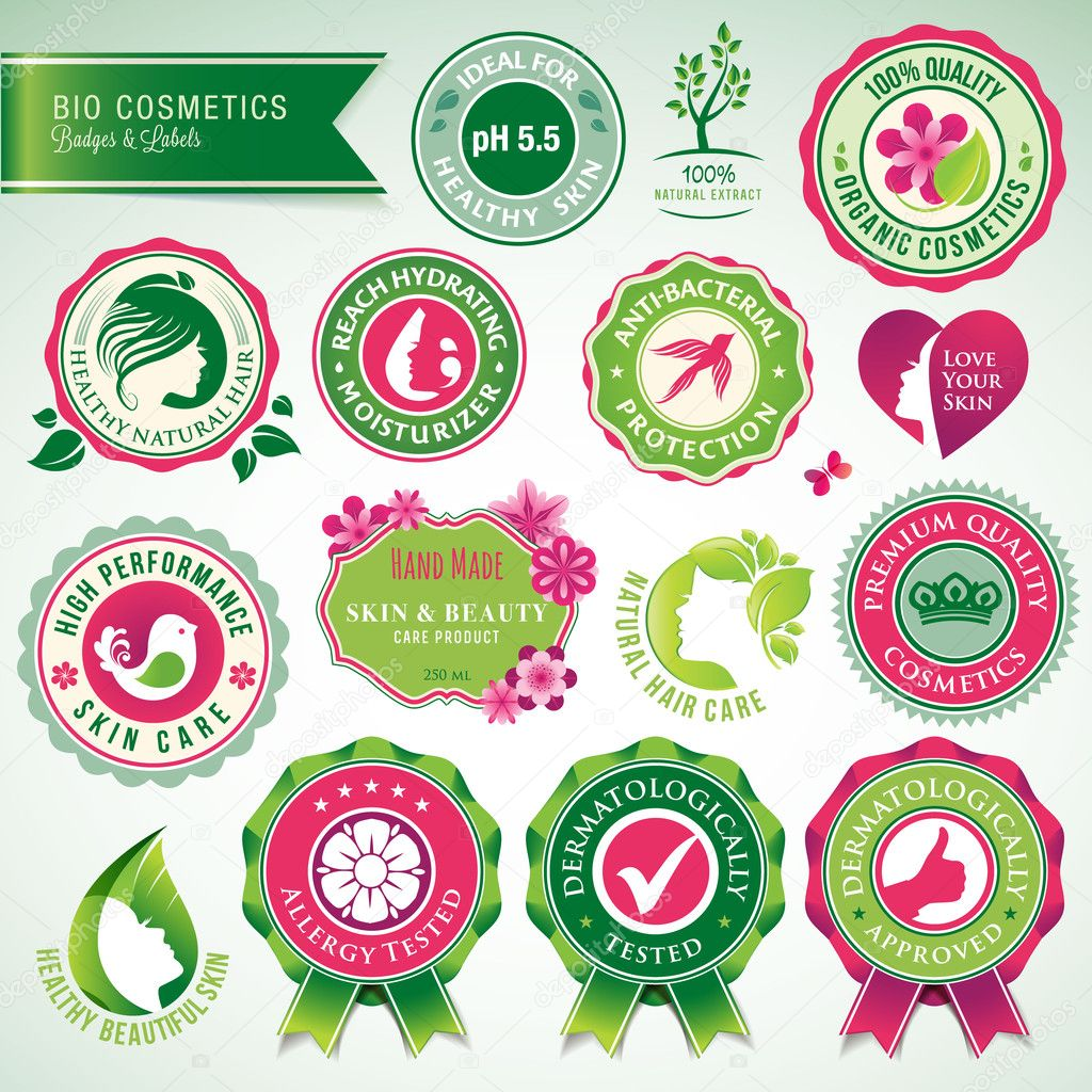 Set of cosmetics badges and labels