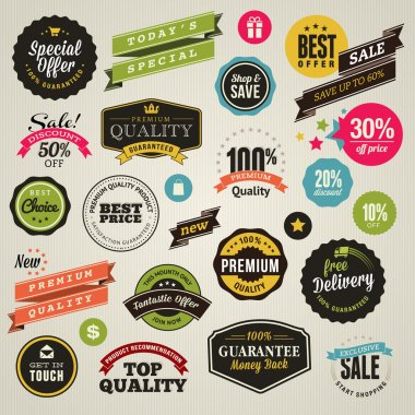 Set of vector stickers and ribbons clip art vector