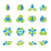Fotografia set di icone di acqua e foglie