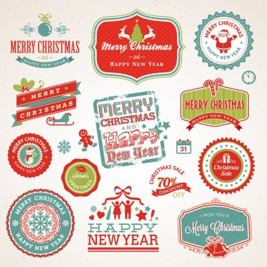 Set of labels and elements for Christmas and New Year