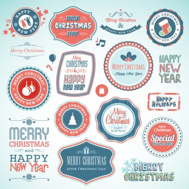 Set of vector stickers and elements for Christmas and New Year clip art vector