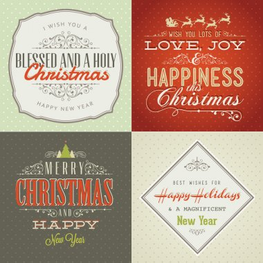 Set of vintage styled Christmas and New Year cards