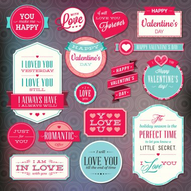 Set of vector stickers and badges for Valentine`s day stock vector
