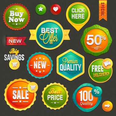 Set of labels and icons for sale stock vector