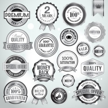 Set of luxury silver badges and stickers