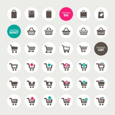 Set of shopping cart, basket and bag icons