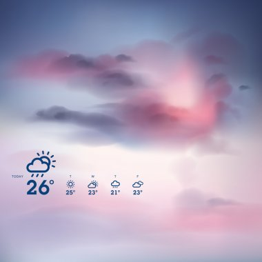 Weather forecast template and sunset theme background