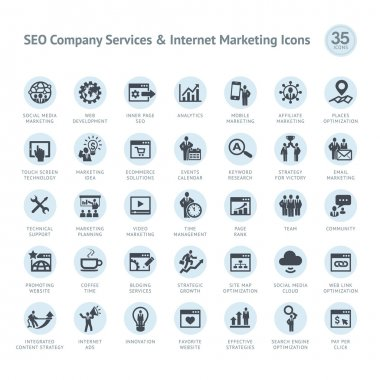 Set of business icons for SEO company service and Internet marketing clip art vector