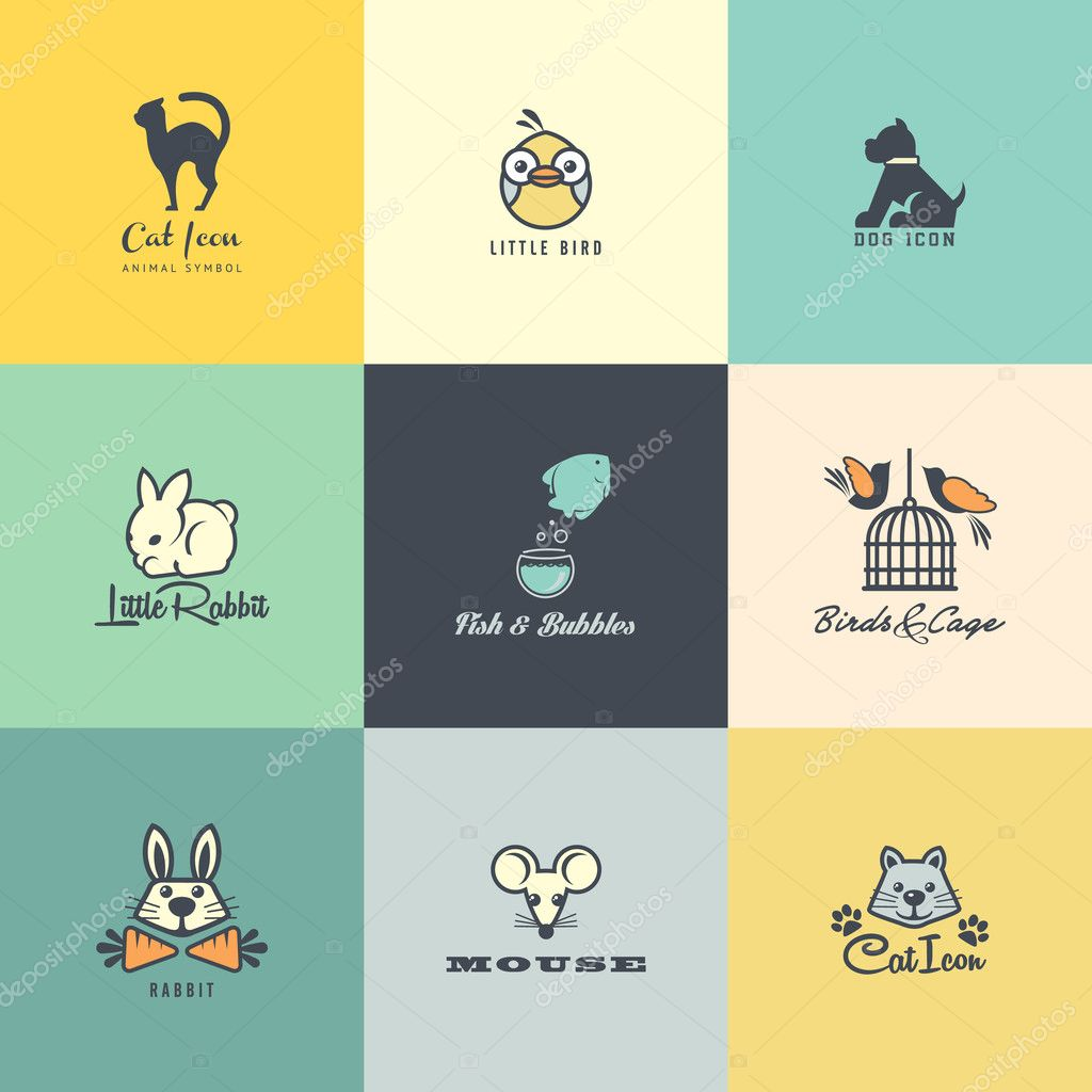 Set of colorful animal icons