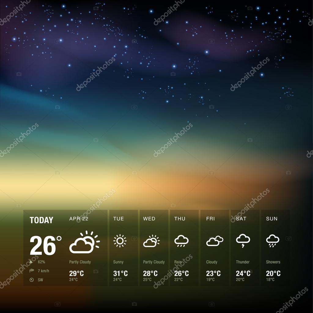 Weather widget template and sky background