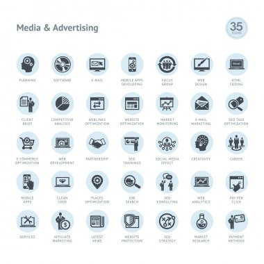 Set of media and advertising icons