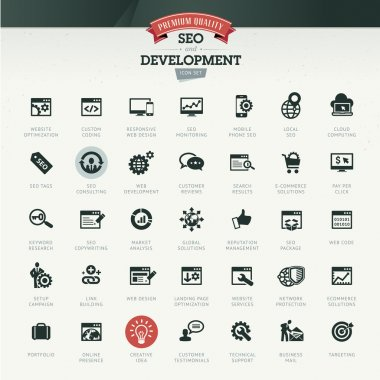 Set of business icons for SEO and development stock vector