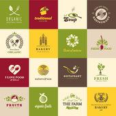 Fotografia set di icone per cibo e bevande, ristoranti e prodotti biologici