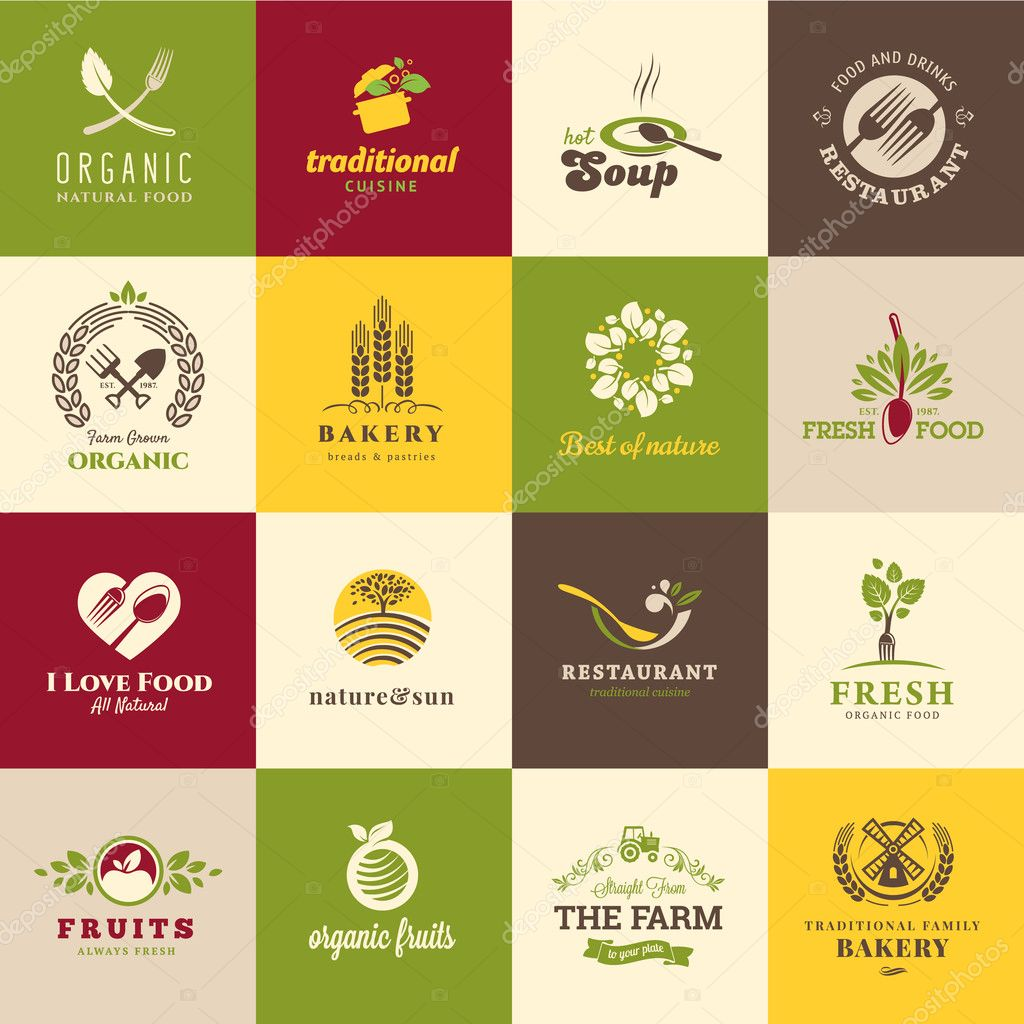 Set of icons for food and drink, restaurants and organic products