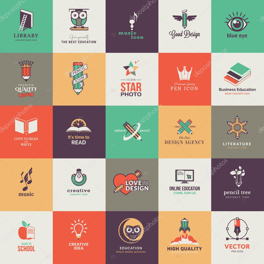 Set of quality designed art and education icons