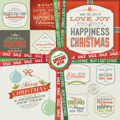 Photo Set of greeting cards, labels, stickers, banners and badges for Christmas and New Year