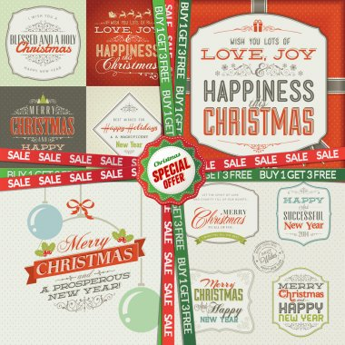 Set of greeting cards, labels, stickers, banners and badges for Christmas and New Year