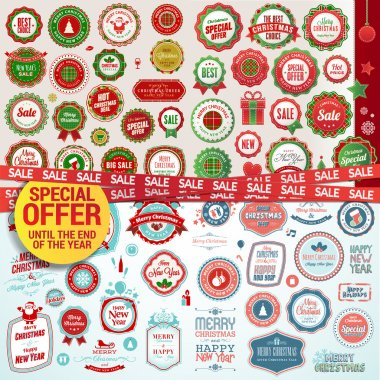 Set of labels, banners, stickers, badges and elements for Christmas and New Year