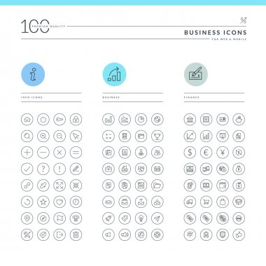 Set of business icons for web and mobile