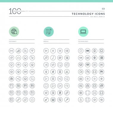 Set of technology icons for web and mobile