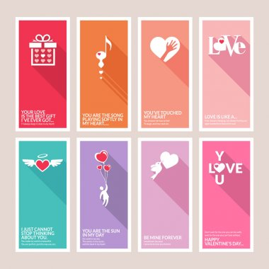 Set of vector Valentines day greeting cards clip art vector