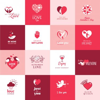 Set of flat icons for Valentines day clip art vector