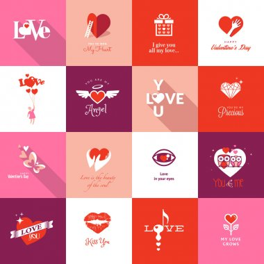 Set of flat design icons for Valentines day clip art vector