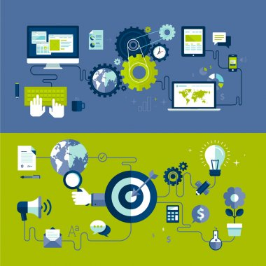 Flat design vector illustration concepts of responsive web design and internet advertising working process