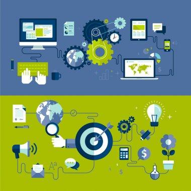 плоские дизайн векторные иллюстрации понятия отзывчивого веб-дизайна и интернет-рекламы рабочего процесса