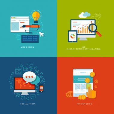 Icons for web design, seo, social media and pay per click internet advertising. clip art vector