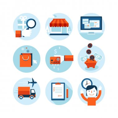 Set of modern flat design icons on the topic of online shopping and delivery service. Icons for web and mobile services and apps. Isolated on white background.