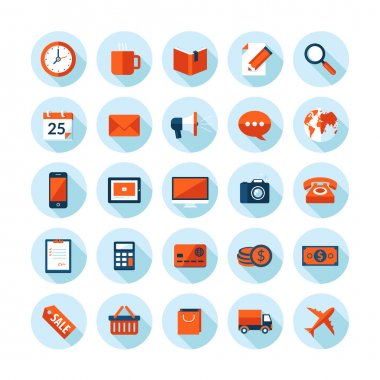 Flat design modern vector illustration icons set on business and finance theme. Icons with long shadow in stylish colors, isolated on white.