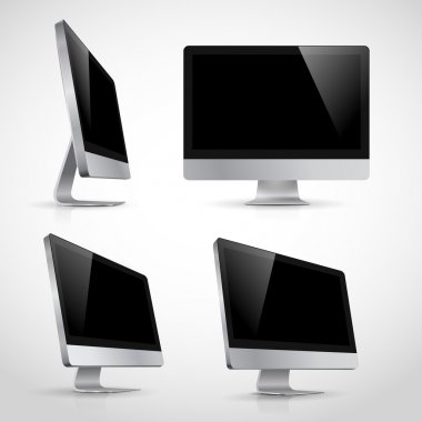 Realistic vector template of computer monitor in various positions. Isolated on white background.