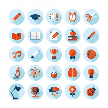 Set of modern flat icons with long shadow in stylish colors on education, sport, science, biology, art and music