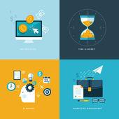 Fényképek lapos design koncepció ikonok a webes és mobil telefon szolgáltatások és alkalmazások gyűjteménye. ikonok a pay-per-click, tervezés, marketing menedzsment, idő pénz