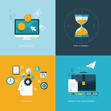Set of flat design concept icons for web and mobile phone services and apps. Icons for pay per click, planning, marketing management, time is money.