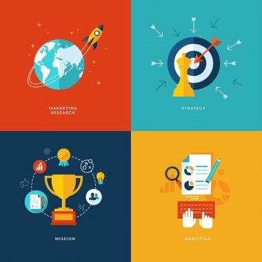 Icons for marketing research, strategy, mission, analytics.