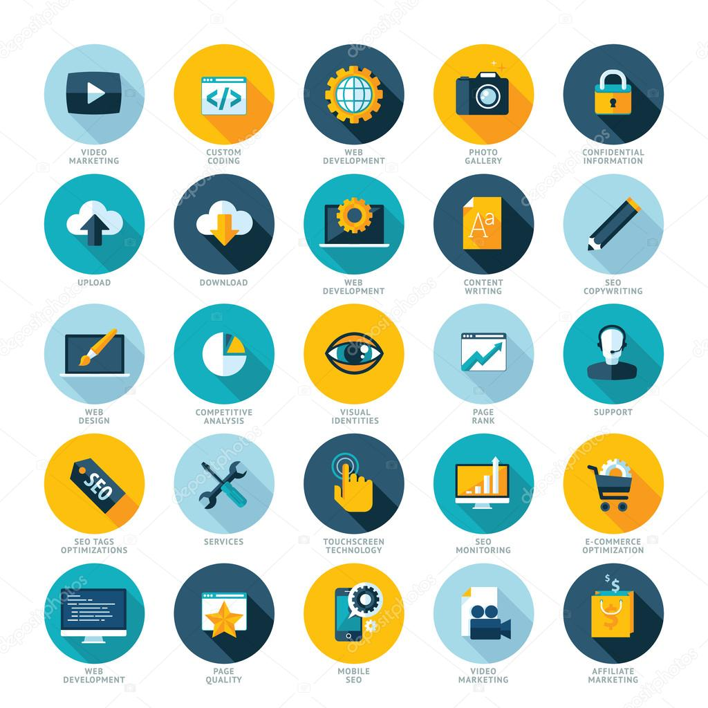 Set of flat design icons for Web design development, SEO and Internet marketing