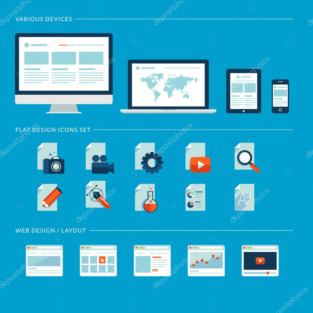 Set of flat design icons for web and mobile phone services and apps. Icons for web design development, web page design layouts, various devices