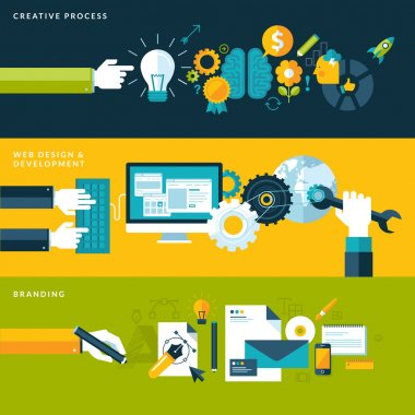 Set of flat design vector illustration concepts for creative process, web design & development and branding.
