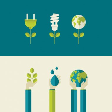 Set of flat design vector illustration concepts for green energy and save the planet, water and nature. Concepts for web banners and printed materials.