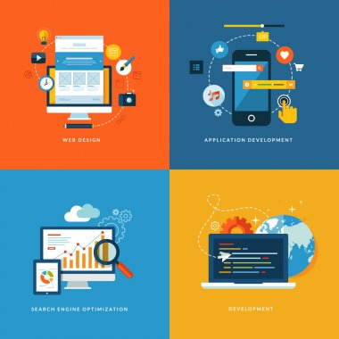 Set of flat design concept icons for web and mobile services and apps. Icons for web design, application development, seo and web development.