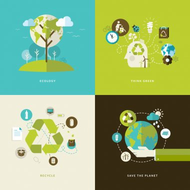 Set of flat design concept icons for web and mobile services and apps. Icons for ecology, think green, recycle and save the planet.