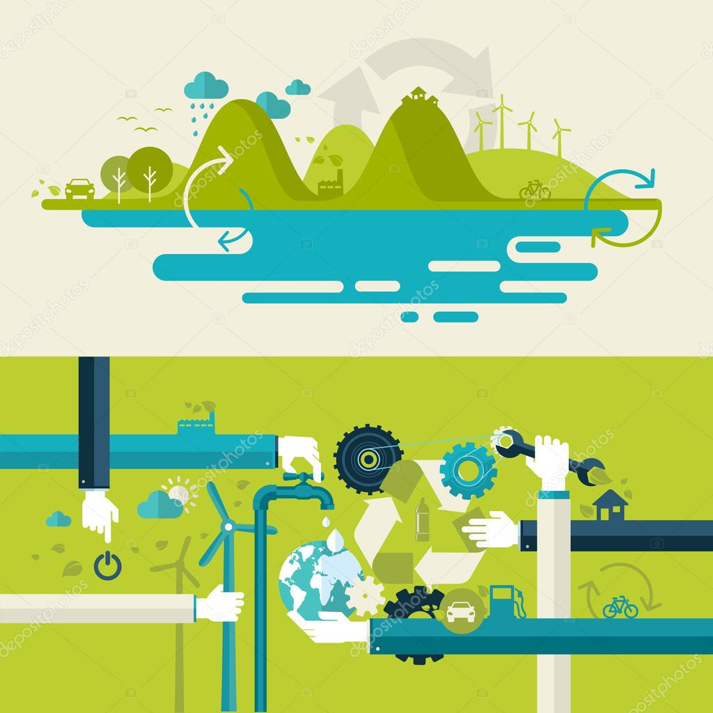 Set of flat design vector illustration concepts for ecology, recycling and green technology. Concepts for web banners and printed materials.