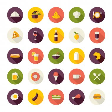 Set of flat design icons for restaurant, food and drink.